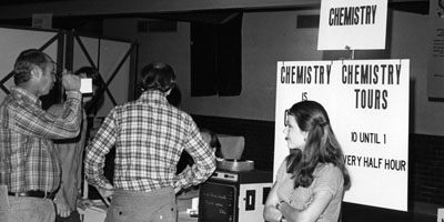 1970s: Chemistry tours and demonstrations being conducted at an unknown event.