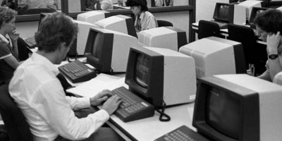 1980s: Students in a PAMS computer laboratory.