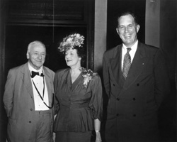 UA023.08.046.0004809P Left to right: Honorable Josephus Daniels, Mrs. Kenneth C. Royall, and Kenneth C. Royall, Secretary of War, attending the 15th annual 4-H Club Week at North Carolina State College, August 18-23, 1947.